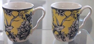 222 Fifth Adelaide Yellow Set Of 2 Mugs Coffee Tea Porcelain 4 1/8Th New