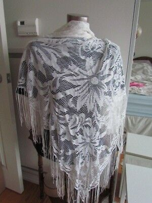 Lace Mantilla Vintage Church Piano Shawl White Rayon Japan Scarf Floral Fringe