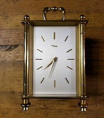 VINTAGE IMHOF Solid Brass Manual Wind Clock • ANTIQUE Swiss Timepieces Clocks