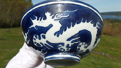 RARE Ming Dyn. Blue & White Translucent 5-Clawed DRAGON Bowl w/Chenghua Mark!