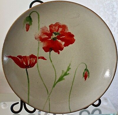 222 Fifth Amapola Dinner Plate Round 10 3/4Th Cream Red Poppies Porcelaine Fine