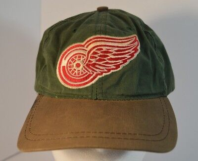 1f43b1946da12 Vintage NHL Detroit Red Wings American Needle Leather Strap Made USA Hat Cap