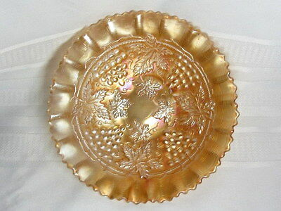 Northwood Carnival Glass, Grape And Cable, Marigold Pie Crust Bowl, Excellent~~