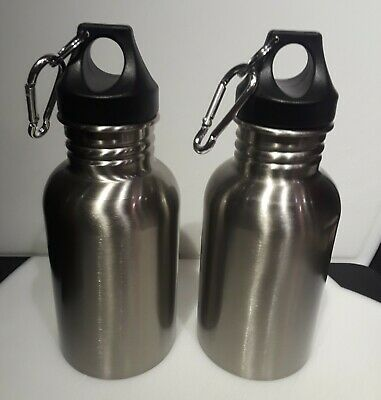 NEW (no box) - TWO stainless steel 17.5 oz water bottles with carabiner hooks