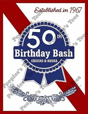 Made in 1967 Men's T-Shirt 50th Birthday Party Gift 67 Pabst Blue Ribbon shirt