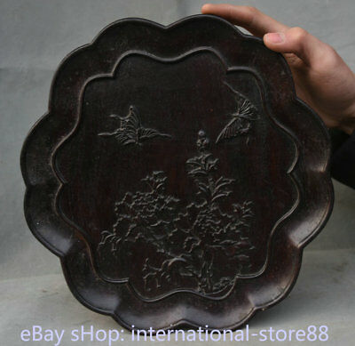 "11.2"" Old China Dynasty redwood Wood Hand Carved Flower butterfly Plate Tray"