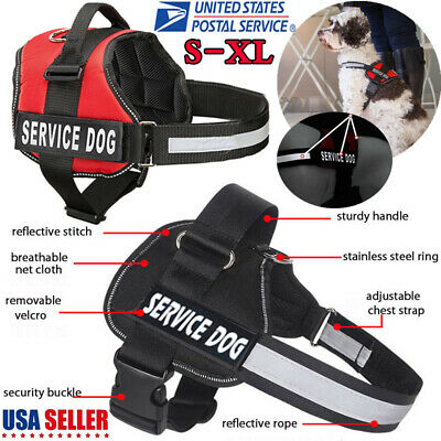 Adjustable Service Dog Harness Vest Patches Reflective Small Large Medium S-XL