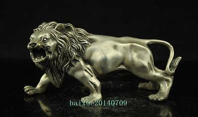 China old copper plating silver Evil Foo Dog Lion Lions Beast Unique Statue c02