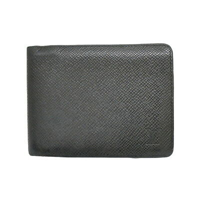 5eccc472133 Authentic Louis Vuitton Taiga Leather Compact Wallet Portefeuille Multiple  Black
