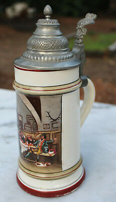 Antique German Lithophane Stein Pewter Lid Circa 1900 Tavern Scene Guests Dogs