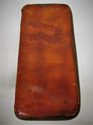 Vtg. Leather Embossed Bag Case Clutch Travel for Valuable Papers MEEKER, Signed