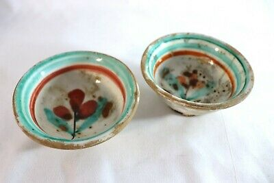Antique Turquoise & Red Glazed Ceramic Pottery Footed Cup / Bowl