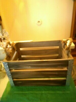 New Rustic Wooden Crate With Metal Corners And Rope Handles Like *The Old Day's*