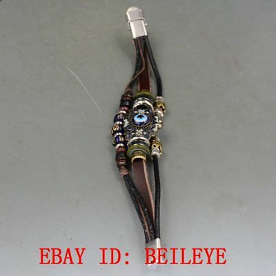 Handmade Multilayers Brown Leather Agate Beads Bracelet B67