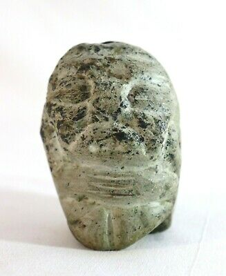 Primitive Art Archaic Stone Carving Green Granite or Marble Effigy Ancient
