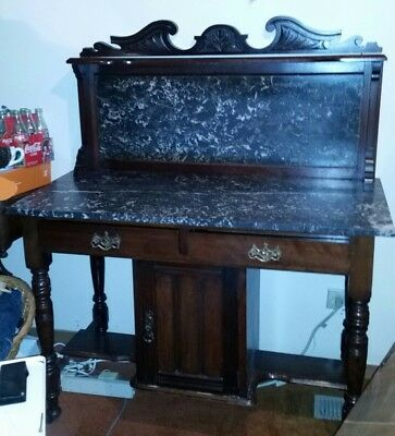 Antique Marble Top & Back  WASH STAND