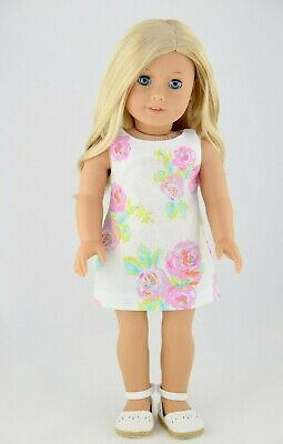 Summer Shift Dress American Made Doll Clothes For 18 Inch Girl Dolls Pink Floral