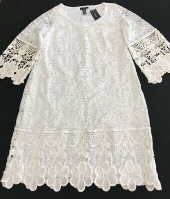 ALFANI WHITE CROCHETED LACE DRESS with STRETCH - NWT - Size 0X - MSRP $109