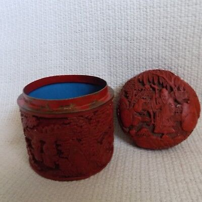 Chinese Hand carved Cinnabar Round Box with Covers