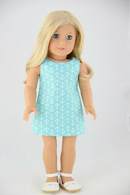 Nautical Aqua Shift Dress American Made Doll Clothes For 18 Inch Girl Dolls