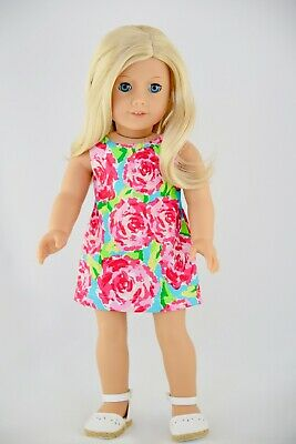 American Made Doll Clothes For 18 Inch Girl Doll Summer Dress Pink Floral Aqua