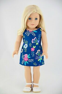 American Made Doll Clothes For 18 Inch Girl Dolls Pink Blue Flowers Navy Dress