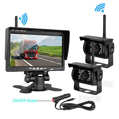"Upgrade 2x Wireless IR Rear View CCD Camera HD 7"" Monitor For Caravan Car 12-24V"