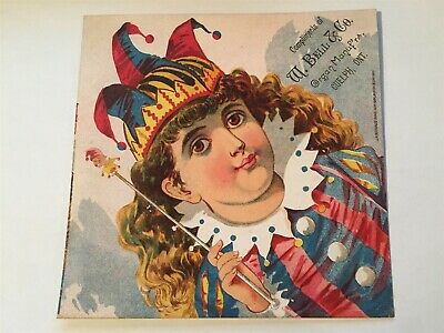 Girl in Jester Costume, W. Bell & Co. Organ Mfg. Guelph, ON Victorian Trade Card