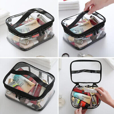Hot Fashion Clear Cosmetic Toiletry PVC Travel Wash Makeup Bag Full Zipper up
