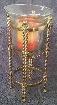 Vintage Twisted Brass Clear Glass Globe Candle Holder Stand w/ Brass Ball Feet