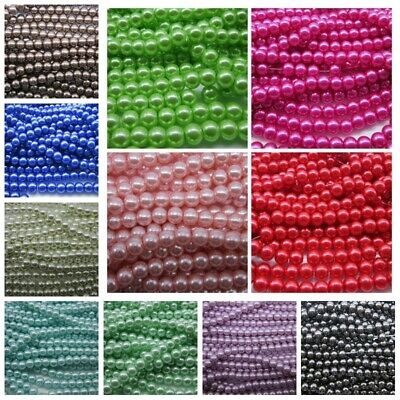 14 Colors Wholesale Glass Pearl Round Spacer Loose Beads 4mm 6mm 8mm 10mm DIY