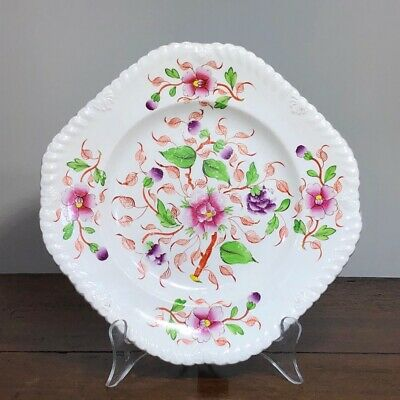 J D Baxter square 'Celtic China' plate, Chinese style flowers, c 1825