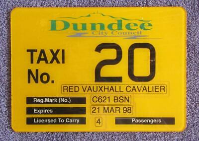 Scotland Taxi License/number Plate # 20
