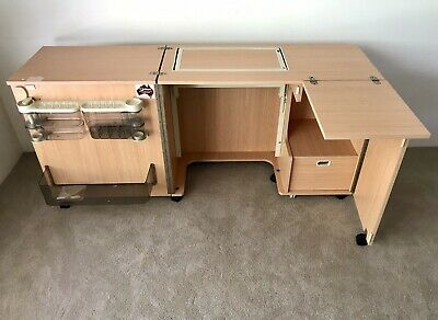 Horn, Mornarch Sewing Cabinet Table In Beech Wood