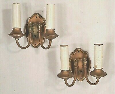 VINTAGE PAIR OF EARLY 20th CENTURY TURTLE BACK DOUBLE ARM BRASS SCONCES