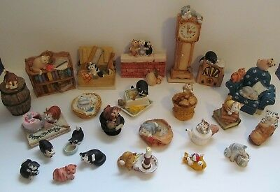 Peter Fagan Cat Figurines Lot of 24 Colour Box Hand Painted in Scotland 80s Vtg