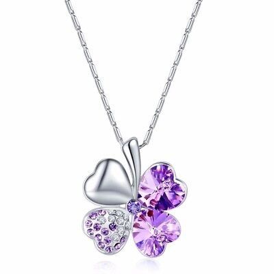 AZZURRE Women's 18K White Gold Filled Clover Necklace with Swarovski Crystals