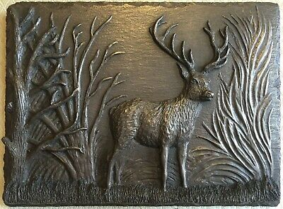 HAND MADE Deer Stag Cold Cast Bronze Signed Wall Art Sculpture Plaque Relief