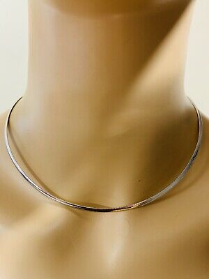 "18K Saudi Gold Omega Necklace With 16"" Long Reversible White And Yellow"