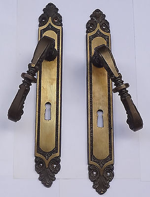 Vintage Pair Solid Brass Door Lever Handles Set on Backplates