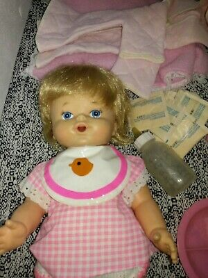Vintage Baby Alive Doll Made In Taiwan with original care set