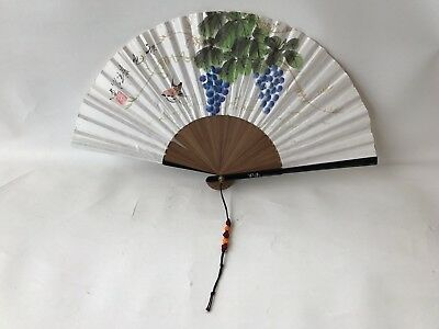 Vintage korean Black Laquer mother of pearl inlay bamboo hand painted paper fan