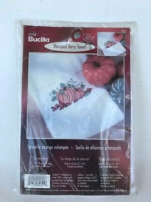 Unused Plaid Bucilla Stamped Terry towel harvest time pumpkin cross stitch