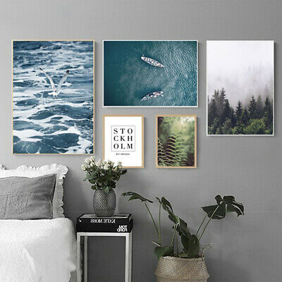 Unframed Nordic Sea Forest Scenery Canvas Painting Wall Picture Home Decor Sight