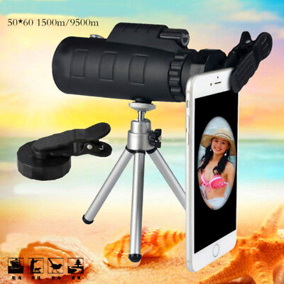 50X60 Zoom Optical Focus HD Lens Monocular Telescope+Tripod+Clip F. Mobile Phone
