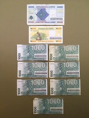 Lebanese lira banknotes—50,000 (one), 10,000 (one) and 1,000 (seven)