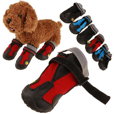 4Pcs Pet Dog Shoes Reflective Waterproof Boots Puppy Outdoor Anti-slip Shoes Sig