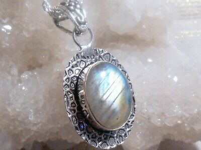 Enchanted Earth Natural Labradorite Pendant 925 Sterling Silver Overlay Necklace