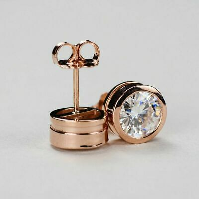1.00 Ct Round Cut Diamond Bezel Set Solitaire Stud Earrings Solid 14K Rose Gold