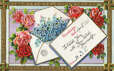 Greetings postcard Swastika Good Luck signs postally used 1910